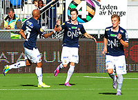Fotball Herrer Tippeligaen Eliteserien 2014<br /> Marienlyst Stadion Gamle Gress  23.08.2014<br /> <br /> Strømsgodset vs Stabæk<br /> <br /> Resultat 2 - 3<br /> <br /> Foto: Robert Christensen Digitalsport<br /> <br /> Strømsgodset MArvin Ogunjimi gratulerer lars Christopher Vilsvik med målet , siden Martin Ødegaard<br /> <br /> Stabæk