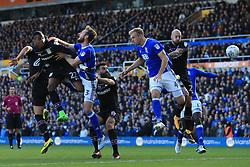 29th October 2017 - Sky Bet EFL Championship - Birmingham City v Aston Villa - Jonathan Kodjia of Villa (L) fires a header just wide - Photo: Simon Stacpoole / Offside.