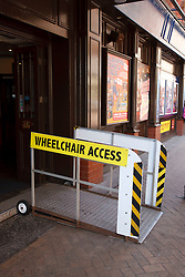 Moveable wheelchair access ramp at Blackpool Tower.