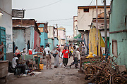 Narrow street. The side streets near the Mahamoud Harbi (former Place Arthur Rimbaud), the heart of Djibouti where the main market is based and buses come and go out of Djibouti mainly towards Ethiopia...The geostrategical and geopolitical importance of the Republic of Djibouti, located on the Horn of Africa, by the Red Sea and the Gulf of Aden, and bordered by Eritrea, Ethiopia and Somalia.