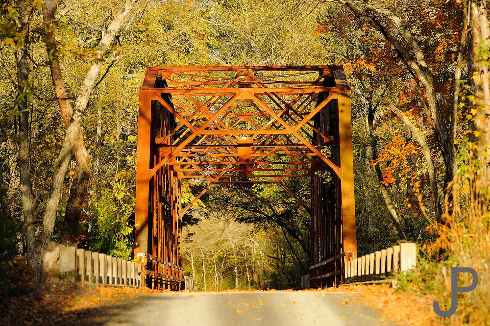 Still operating metal bridge south of Smithville, Oklahoma