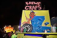 """Feb 15,  New Orleans, LA, a caricature of  Bobby Jindal superimposed on a cartoon of Miley Cyrus at the helm of a float in the Krewe du Vieux Mardi Gras parade that roles through New Orleans Marigny and French Quarter.<br /> The 2014  theme was """"Where the Vile Things Are,"""".  Krewe du Vieux is know for it  raucous irreverent satire displayed on the floats and by the Krewe members."""