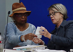 Broward Supervisor of Elections Brenda Snipes, left, and judge Betsy Benson of the election canvassing board listen to arguments on Sunday, November 11, 2018, at the Broward Supervisor of Elections office in Lauderhill, FL, USA. The Florida recount began Sunday morning. Photo by Joe Cavaretta/Sun Sentinel/TNS/ABACAPRESS.COM