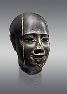 Ancient Egyptian statue bust of a male, graanodiorite, Late Period, (722-322 BC). Egyptian Museum, Turin. Grey background.  Grey background. Drovetti collection. Cat 3139 .<br /> <br /> If you prefer to buy from our ALAMY PHOTO LIBRARY  Collection visit : https://www.alamy.com/portfolio/paul-williams-funkystock/ancient-egyptian-art-artefacts.html  . Type -   Turin   - into the LOWER SEARCH WITHIN GALLERY box. Refine search by adding background colour, subject etc<br /> <br /> Visit our ANCIENT WORLD PHOTO COLLECTIONS for more photos to download or buy as wall art prints https://funkystock.photoshelter.com/gallery-collection/Ancient-World-Art-Antiquities-Historic-Sites-Pictures-Images-of/C00006u26yqSkDOM