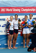 Chungju, South Korea.  Lightweight women's double sculls medals, Middle Gold medalist.  ITA LW2X. Bow. Laura MILANI and Elisabetta SANCASSANI, left Silver medalist, USALW2X. Kristin HEDSTROM and  Kathleen BERTKO. right Bronze medalist. GER LW2X.  Lena MUELLER and Anja NOSKE. 2013 FISA World Rowing Championships, Tangeum Lake International Regatta Course.16:16:35  Saturday  31/08/2013 [Mandatory Credit. Peter Spurrier/Intersport Images]