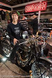 Tomo Shibazaki of Sundance Motorcycles at the 26th Annual Yokohama Hot Rod and Custom Show 2017. Yokohama, Japan. Sunday December 3, 2017. Photography ©2017 Michael Lichter.