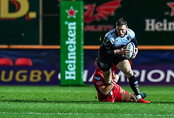 Toulon's Chris Ashton is tackled by Scarlets' Dan Jones<br /> <br /> Photographer Craig Thomas/Replay Images<br /> <br /> European Rugby Champions Cup Round 5 - Scarlets v Toulon - Saturday 20th January 2018 - Parc Y Scarlets - Llanelli<br /> <br /> World Copyright © Replay Images . All rights reserved. info@replayimages.co.uk - http://replayimages.co.uk