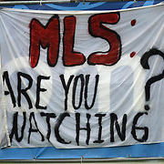 A banner during a United Soccer League Pro soccer match between the Pittsburgh Riverhounds and the Orlando City Lions at the Florida Citrus Bowl on May 14, 2011 in Orlando, Florida. Orlando won the game 1-0. (AP Photo/Alex Menendez)