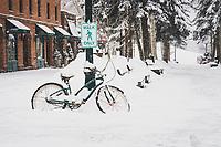 """Walk Only"" snowy bike downtown Aspen, Colorado."