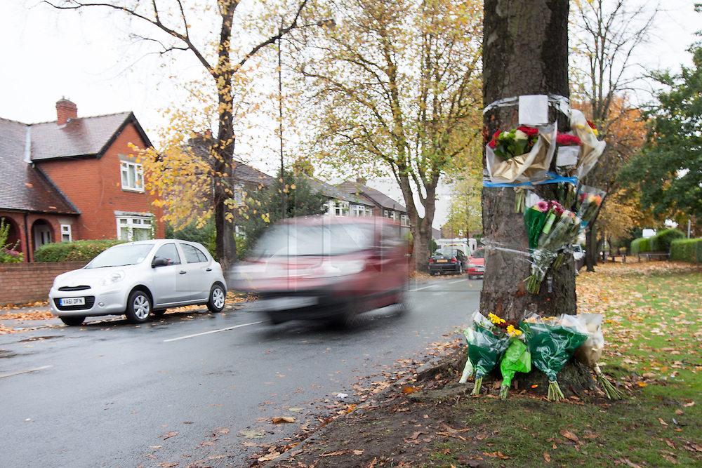 """© Licensed to London News Pictures . FILE PICTURE DATED 28/10/2012 . Chassen Road , Flixton , Manchester , UK . The scene of a road traffic accident where mourners are leaving flowers and tributes taped to a tree .<br /> <br /> A man has been jailed for seven years after killing his friend whilst drink driving. Liam Colin Creathorne of Urmston , Greater Manchester , had been out drinking with friend John Hodson on Saturday 27th October 2012 when he lost control of his car , spinning it on a bend in the road before ploughing in to a tree . John (27) suffered head injuries so severe that he died in hospital the following morning<br /> <br /> Creathorne (24) , who suffered a chest injury in the crash , pleaded guilty and , alongside the lengthy sentence , was also banned from driving for seven years.<br /> <br /> Inspector Matt Bailey-Smith of Greater Manchester Police said """"First and foremost, our thoughts are with the family of John Hodson, who were left devastated by this tragedy a year ago.<br /> <br /> """"Creathorne should never have been behind the wheel of that car that night. Not only that, he then went onto drive in such a reckless manner that in that moment the lives of both men were at risk.<br /> <br /> """"Today, Creathorne has rightly been jailed for what he has done but he will have to live with what he has done to his friend for the rest of his life.<br /> <br /> """"Creathorne has been given a very lengthy jail sentence and I hope this acts as a powerful deterrent to anyone who thinks about getting behind the wheel of a car while drunk. To do so puts the lives of innocent people at risk and in tragic circumstances like these, robs families of their loved ones. If you do, you could find yourself behind bars for a long time and just as importantly living with the guilt of killing someone for the rest of your life"""".<br /> <br /> Photo credit : Joel Goodman/LNP"""