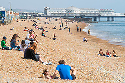 © Licensed to London News Pictures.08/05/2020. Brighton, UK. Members of the public take to Brighton and Hove Promenade on the May Bank Holiday Friday as the country remains under the Coronavirus lockdown. Photo credit: Hugo Michiels/LNP