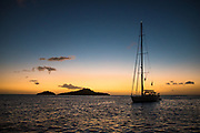 Boat at sunset in Guadeloupe