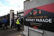 fans arrive for the match. The Emirates FA Cup, 2nd round match, Newport County v Cambridge United at Rodney Parade in Newport, South Wales on Sunday 3rd December 2017.<br /> pic by Andrew Orchard,  Andrew Orchard sports photography.
