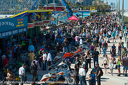 There was a great crowd at the Boardwalk Bike Show during Daytona Bike Week. FL, USA. March 14, 2014.  Photography ©2014 Michael Lichter.