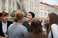 Speech therapist students hang out together in the main square of Lviv, Ukraine.<br /><br />(Septmeber 6, 2016)