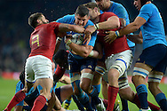 Edoardo Gori of Italy is stopped by Sebastien Tillous-Borde of France and Pascal Pape of France. Rugby World Cup 2015 pool D match, France v Italy at Twickenham Stadium in London on Saturday 19th September 2015.<br /> pic by John Patrick Fletcher, Andrew Orchard sports photography.