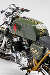 """Steve """"Carpy"""" Carpenter's Greenday Special, Honda CB 750K, built in 2006. Photographed by Michael Lichter in Sturgis, SD. August 1, 2020. ©2020 Michael Lichter"""