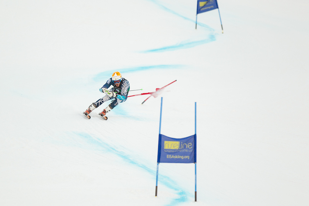 Coley Oliver of the University of New Hampshire, skis during the second run of the men's giant slalom at the Colby College Carnival at Sugarloaf Mountain on January 17, 2014 in Carabassett Valley, ME. (Dustin Satloff/EISA)