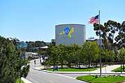 Water Tower with Anteater Mascot logo at the University of California Irvine