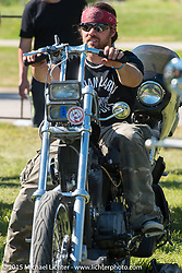 """Brad Gregory at the """"Built for the Ride"""" bike show presented by RSD in City Park during the 75th Annual Sturgis Black Hills Motorcycle Rally.  SD, USA.  August 1, 2015.  Photography ©2015 Michael Lichter."""