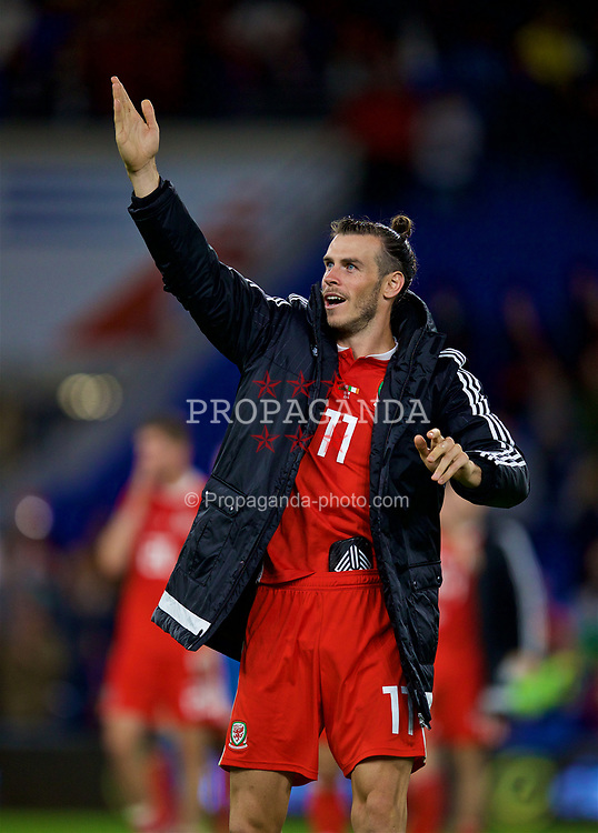 CARDIFF, WALES - Thursday, September 6, 2018: Wales' Gareth Bale waves to his family after the UEFA Nations League Group Stage League B Group 4 match between Wales and Republic of Ireland at the Cardiff City Stadium. Wales won 4-1. (Pic by David Rawcliffe/Propaganda)