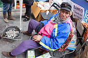 Luis, a person evicted, occupies Bankia headquarters in Madrid since 78 days.
