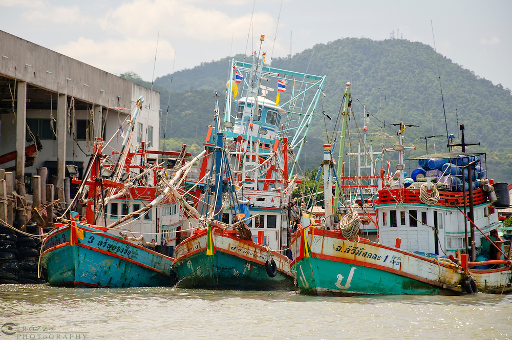 Fishing Boats in the port town of Ban Phe, Thailand.