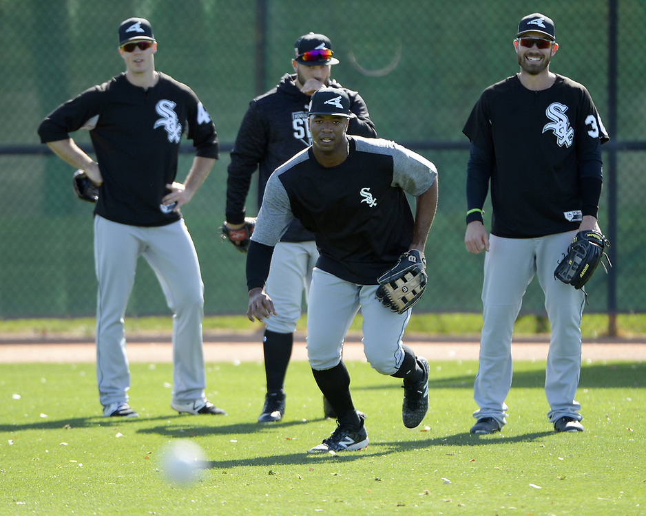GLENDALE, ARIZONA - FEBRUARY 20:  Eloy Jimenez of the Chicago White Sox participates in outfield drills during a spring training workout February 20, 2018 at Camelback Ranch in Glendale Arizona.  (Photo by Ron Vesely)  Subject:   Eloy Jimenez