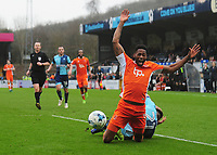 Blackpool's Jamille Matt is fouled by Wycombe Wanderers' Max Muller, resulting in a penalty<br /> <br /> Photographer Kevin Barnes/CameraSport<br /> <br /> The EFL Sky Bet League Two - Wycombe Wanderers v Blackpool - Saturday 11th March 2017 - Adams Park - Wycombe<br /> <br /> World Copyright © 2017 CameraSport. All rights reserved. 43 Linden Ave. Countesthorpe. Leicester. England. LE8 5PG - Tel: +44 (0) 116 277 4147 - admin@camerasport.com - www.camerasport.com