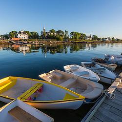 Skiffs at the town docks in Jonesport, Maine.