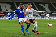 Lee Buchanan of Derby County (26)  shields the ball  during the EFL Sky Bet Championship match between Derby County and Cardiff City at the Pride Park, Derby, England on 28 October 2020.