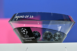 NYON, SWITZERLAND - Monday, December 14, 2020: The draw pot for the Round of 16 during the UEFA Champions League 2020/21 Round of 16 draw at the UEFA Headquarters, the House of European Football. (Photo Handout/UEFA)