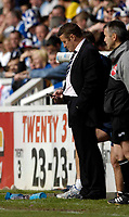 Photo: Jed Wee/Sportsbeat Images.<br /> Hartlepool United v Bristol Rovers. Coca Cola League 2. 05/05/2007.<br /> <br /> Hartlepool manager Danny Wilson keeps up to date with events at Walsall's game at Swindon.