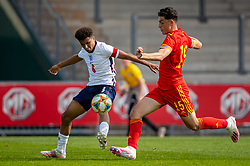 NEWPORT, WALES - Friday, September 3, 2021: England's captain Rico Lewis (L) and Wales' Daniel Davies during an International Friendly Challenge match between Wales Under-18's and England Under-18's at Spytty Park. (Pic by David Rawcliffe/Propaganda)