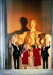 United States President-elect George H.W. Bush attends the opening ceremony for his inauguration at the Lincoln Memorial in Washington, DC on January 18 1989. From left to right: President-elect Bush, Barbara Bush, Marilyn Quayle, and US Vice President-elect Dan Quayle.<br /> Credit: Robert Trippett / Pool via CNP /ABACAPRESS.COM