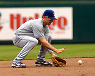 July 29, 2007 - Kansas City, MO..Texas Rangers shortstop fields a ground ball to start a double play in the sixth inning against the Kansas City Royals at Kauffman Stadium in Kansas City, Missouri on July 29, 2007...MLB:  The Royals defeated the Rangers 10-0.  .Photo by Peter G. Aiken/Cal Sport Media