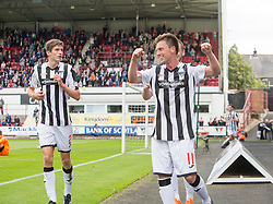 Dunfermline's Joe Cardle cele scoring their seventh goal. <br /> Dunfermline 7 v 1 Cowdenbeath, SPFL Ladbrokes League Division One game played 15/8/2015 at East End Park.