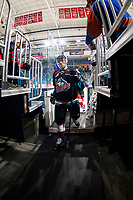 KAMLOOPS, CANADA - NOVEMBER 5: Nolan Foote #29 of Team WHL (Kelowna Rockets) exits the ice after warm up against the Team Russia  on November 5, 2018 at Sandman Centre in Kamloops, British Columbia, Canada.  (Photo by Marissa Baecker/Shoot the Breeze)