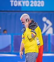 TOKIO -  Een gemotiveerde Shane McLeod (Bel) belt na de wedstrijd. . Vreugde bij de Belgen na  de hockey finale mannen, Australie-Belgie (1-1), België wint shoot outs en is Olympisch Kampioen,  in het Oi HockeyStadion,   tijdens de Olympische Spelen van Tokio 2020.   COPYRIGHT KOEN SUYK