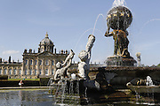 Majestic fountains are exhibited in a harder in Castle Howard, near York, Yorkshire, England, United Kingdom.