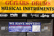 Musical instrument shop has moved from Denmark Street in London's famous Tin Pan Alley, a result of lease issues and rent hikes.