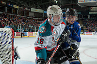 KELOWNA, CANADA - DECEMBER 30: Ralph Jarratt #4 of the Victoria Royals checks Kole Lind #16 of the Kelowna Rockets into the boards during third period on December 30, 2016 at Prospera Place in Kelowna, British Columbia, Canada.  (Photo by Marissa Baecker/Shoot the Breeze)  *** Local Caption ***