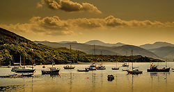 Yachts and small fishing boats moored on Loch Broom at Ullapool, Wester Ross, Scotland<br /> <br /> (c) Andrew Wilson | Edinburgh Elite media