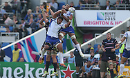 Samoa Tusi Pisi leaps for a line out during the Rugby World Cup 2015 match between Samoa and USA at the Brighton Community Stadium, Falmer, United Kingdom on 20 September 2015.