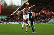 Eric Pieters of Stoke City gets his head to the ball. Barclays Premier league match, Stoke city v Manchester city at the Britannia Stadium in Stoke on Trent, Staffs on Saturday 5th December 2015.<br /> pic by Chris Stading, Andrew Orchard sports photography.