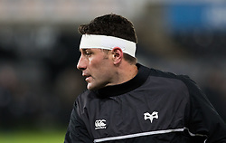 Ospreys' Kieron Fonotia during the pre match warm up<br /> <br /> Photographer Simon King/Replay Images<br /> <br /> Anglo-Welsh Cup Round 4 - Ospreys v Bath Rugby - Friday 2nd February 2018 - Liberty Stadium - Swansea<br /> <br /> World Copyright © Replay Images . All rights reserved. info@replayimages.co.uk - http://replayimages.co.uk