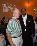 COOPERSTOWN, NY - JULY 26:  2014 Hall of Fame inductee Frank Thomas poses for a photo with former White Sox manager Jeff Torborg during a private reception held at Templeton Hall in Cooperstown, New York on July 26 2014.