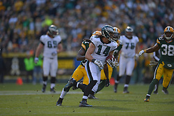 GREEN BAY, WI - NOVEMBER 10: Riley Cooper #14 of the Philadelphia Eagles runs against the Green Bay Packers at Lambeau Field on November 10, 2013 in Green Bay, Wisconsin. (Photo by Drew Hallowell/Philadelphia Eagles/Getty Images) *** Local Caption ***  Riley Cooper