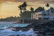 Sunset at the Kona Magic Sands from La'Aloa Magic Sands Beach Park, Kailua-Kona, Big Island of Hawai'i, Hawaii