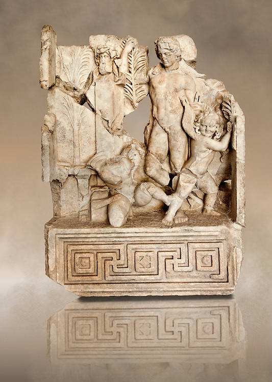 Photo of Roman releif sculpture, an allegory of an athletic contest [ Agon ]  Aphrodisias, Turkey, Images of Roman art bas releifs. Buy as stock or photo art prints. The pillar with a bearded head on it is Hermes the god of the gymnasium. Nearby is a palm of victiry with a ribbon on a prize table. Two winged baby Eros figures are stuggling over a palm branch acting out the idea of a contest. The youthful figure is Agon himself who holds a palm of victory .<br /> <br /> If you prefer to buy from our ALAMY STOCK LIBRARY page at https://www.alamy.com/portfolio/paul-williams-funkystock/greco-roman-sculptures.html . Type -    Aphrodisias     - into LOWER SEARCH WITHIN GALLERY box - Refine search by adding a subject, place, background colour, museum etc.<br /> <br /> Visit our ROMAN WORLD PHOTO COLLECTIONS for more photos to download or buy as wall art prints https://funkystock.photoshelter.com/gallery-collection/The-Romans-Art-Artefacts-Antiquities-Historic-Sites-Pictures-Images/C0000r2uLJJo9_s0